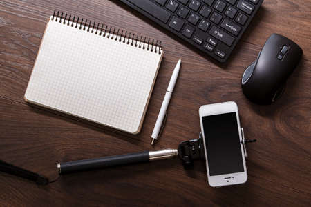 objects: Different objects for blogging on a workplace Stock Photo