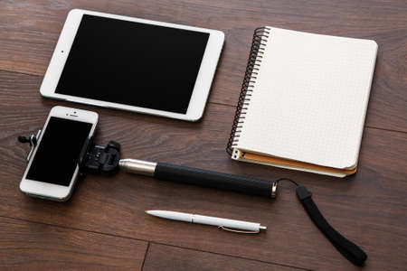 Different objects for blogging on a workplace Stock Photo