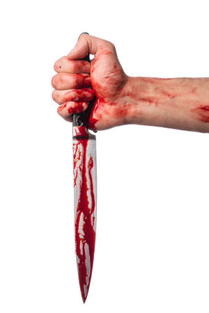 hold hand: Male hand with bloody knife on white background Stock Photo