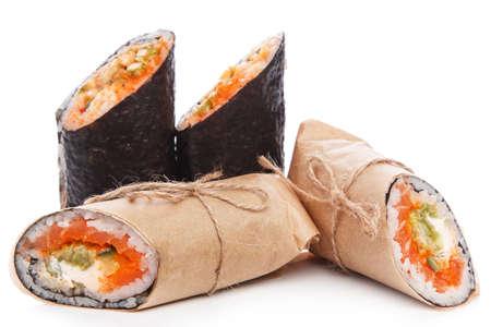 sushi: Sushi burrito - new trendy food concept. Sushi burrito rolls on white background