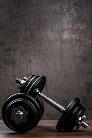 dumbbell: Heavy black dumbbells for workout