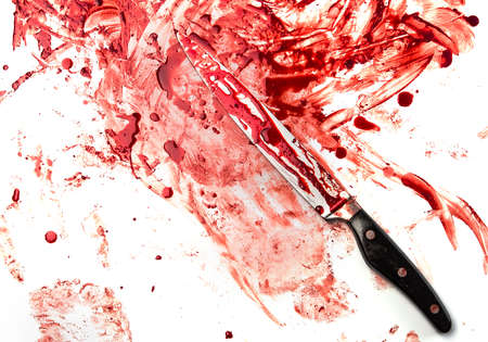 carnage: Knife in blood on white background