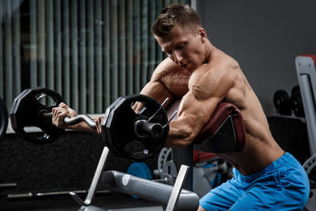 scott: Muscular man training his arms in gym