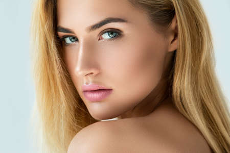 beautiful eyes: Portrait of beautiful blonde girl with beautiful eyes