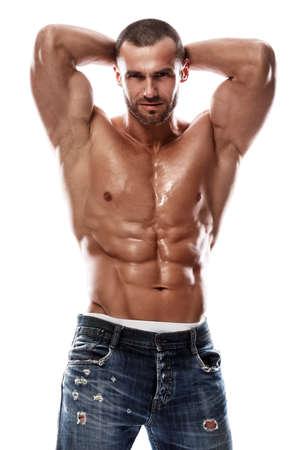 Handsome muscular man posing in studio Archivio Fotografico