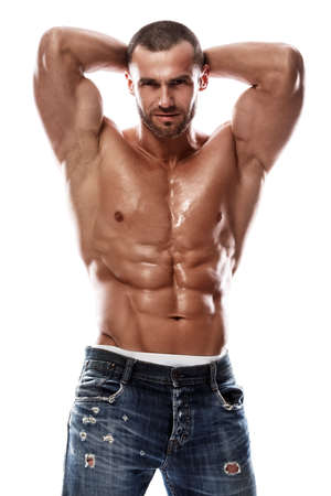 Handsome muscular man posing in studio Stockfoto