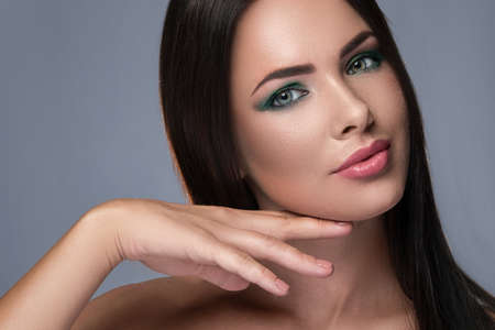 Portrait of gorgeous woman with beautiful makeup Stock Photo