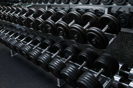Various dumbbells in gym Фото со стока