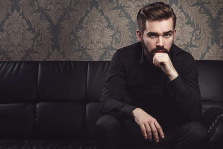Portrait of stylish handsome man with a beard 스톡 콘텐츠