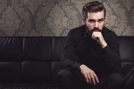 Portrait of stylish handsome man with a beard Standard-Bild