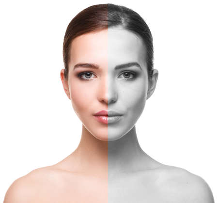 Woman face before and after retouch