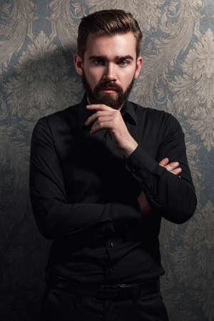 Portrait of stylish handsome man with a beard Banco de Imagens