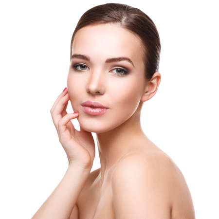 sexy nude women: Woman with beautiful face on white background
