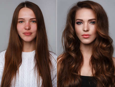 transformation: Picture of female face with comparison after makeup and retouch.