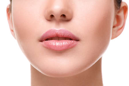 noses: Close up of beautiful pink lips