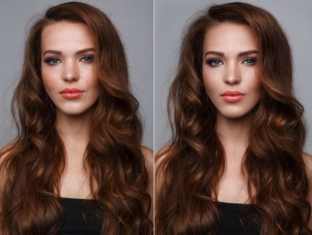 retouch: Female face before and after retouch