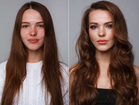 without people: Woman before and after makeup. Real result without retouching.