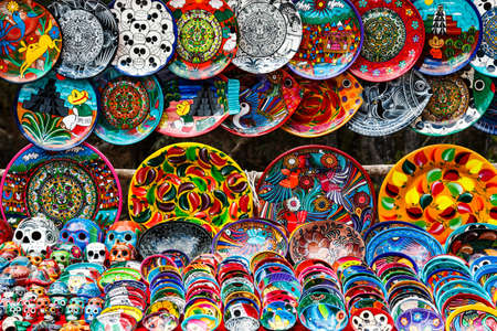 Different ceramic souvenirs in the local Mexican market