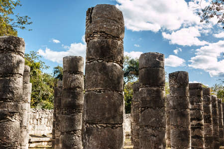 Columns in the Temple of a Thousand Warriors at Chichen Itza, Yucatan, Mexico.
