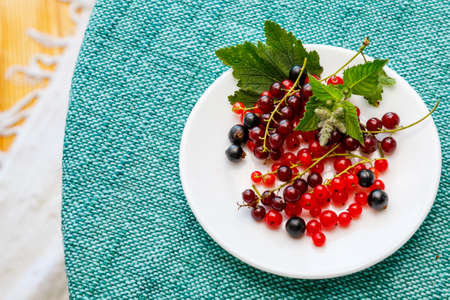Black and red currants on the plate