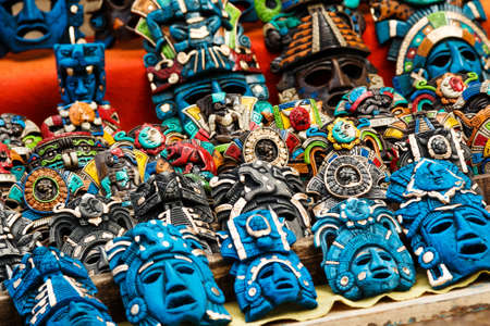 Different wooden souvenirs at the local Mexican market in the Chichen Itza
