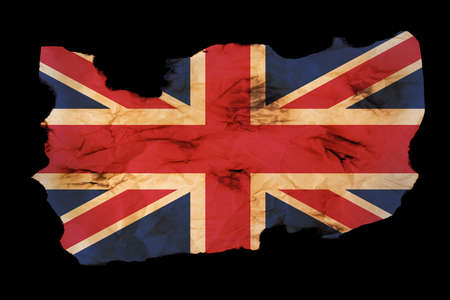 withdrawal: British flag over old paper texture isolated