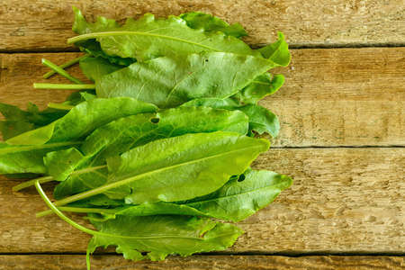 Green sorrel leaves on wooden table