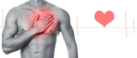 Problems with heart. Man holding hand on his chest. Heart attack or other disease.