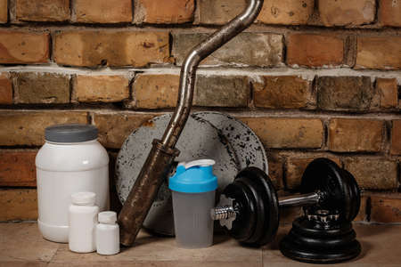albumin: Different food supplements and sport equipment Stock Photo
