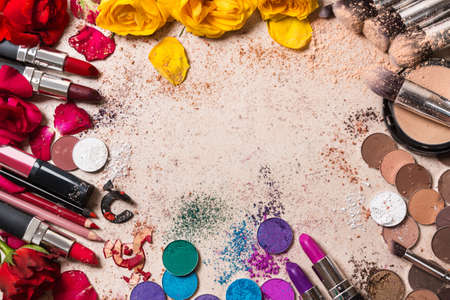 pomatum: Different makeup products Stock Photo