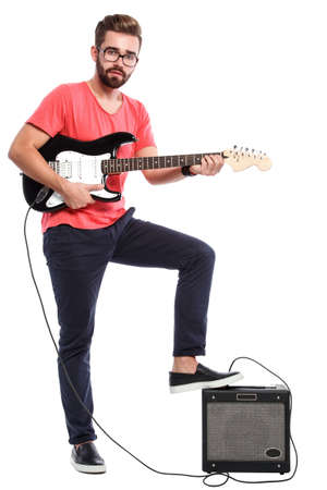 Stylish bearded guy with a guitar
