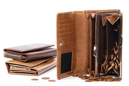 Leather wallet with a lot of euro cent coins on white background