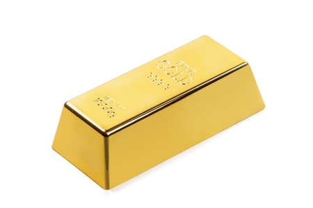 Fine gold bar on white background
