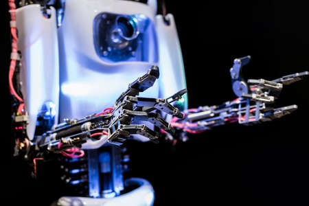 Close up view of robot's body and hands