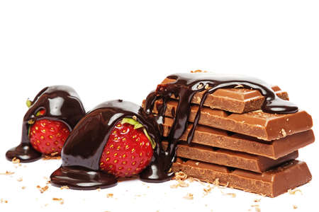 Strawberry and chocolate covored with sweet syrup on white background