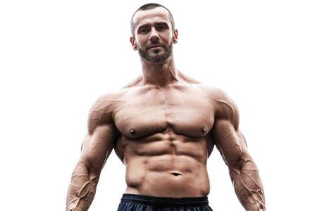 Muscular man posing on white background Banco de Imagens
