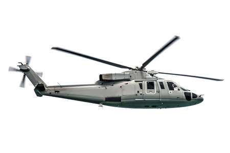 Military navy helicopter flying isolated on white background