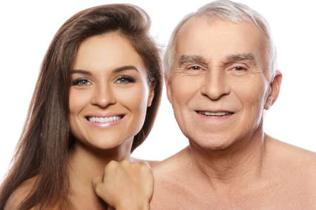 Happy elderly father and his beautiful daughter on white background Zdjęcie Seryjne - 133815604