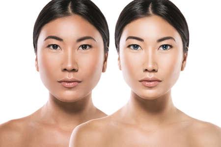 Transformation der asiatischen Frau. Ergebnis einer plastischen Operation oder Retusche.