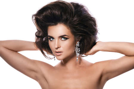Portrait of gorgeous woman with a beautiful hairstyle and make-up 写真素材 - 133672748