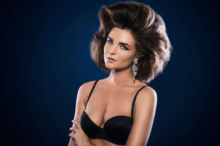 Portrait of gorgeous woman with a beautiful hairstyle and make-up