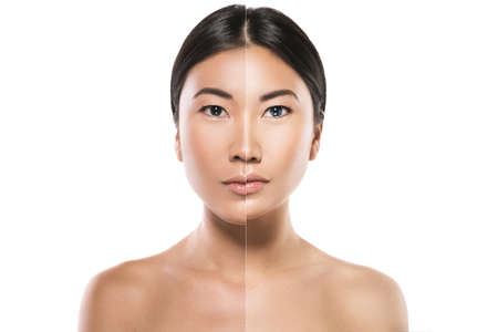Transformation of Asian woman. Result of plastic surgery or retouch.