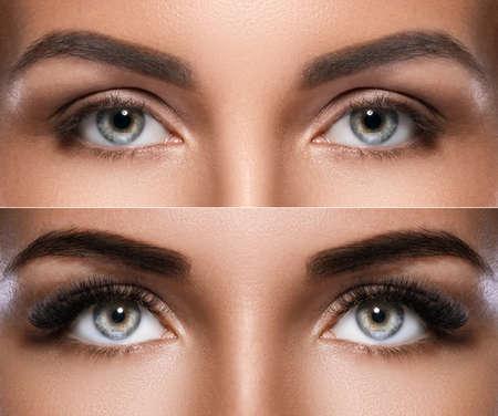 Microblading des sourcils et extension de cils. Différence entre les yeux féminins après le maquillage.