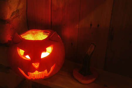 Handmade and creative pumpkin for Halloween in shape of cat muzzle.