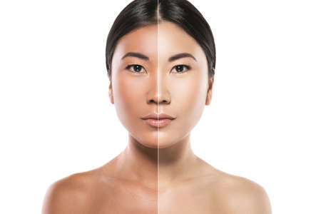 Asiatische Frau mit Unterschied in der Hauthelligkeit. Konzept der Gesichtsaufhellung oder des Sonnenschutzes.