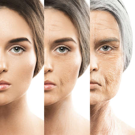 Aging concept. Comparison of young and old. Real result achieved with work of professional makeup artist. Not CGI.