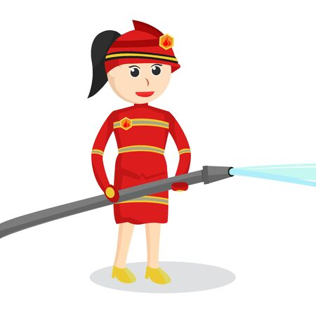 Female firefighter Use Water Hose illustration