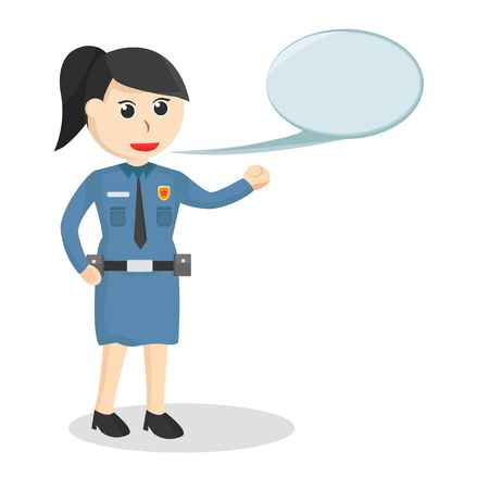 female police With Callout job illustration