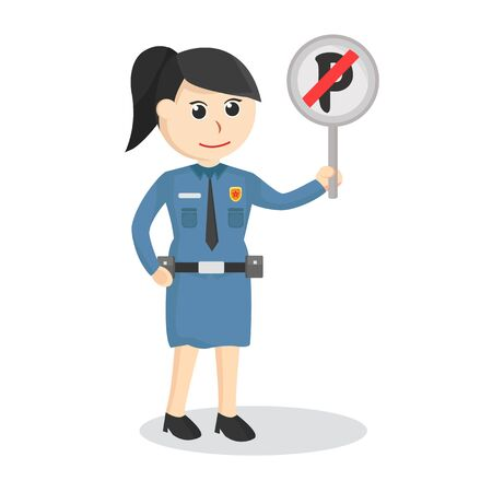 female police with a sign that parking is  prohibited illustration
