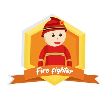 firefighter in emblem design illustration